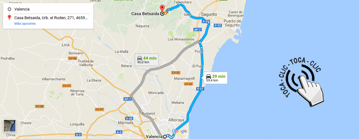 Cómo llegar en coche desde Valencia -Cómo llegar - Betsaida